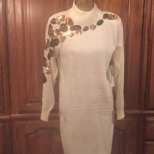 47493498138 Vintage Dresses - Vintage 80 s Darian White Sequined Sweater Dress